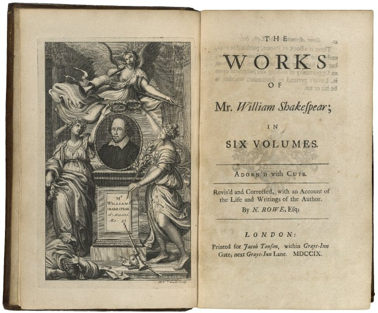 frontispiece and title page of Rowe's 1709 edition