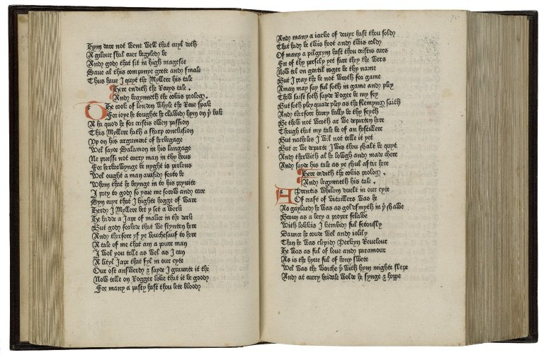 The beginning of the Cook's Tale in Caxton's 1477 printing of Chaucer's The Canterbury Tales