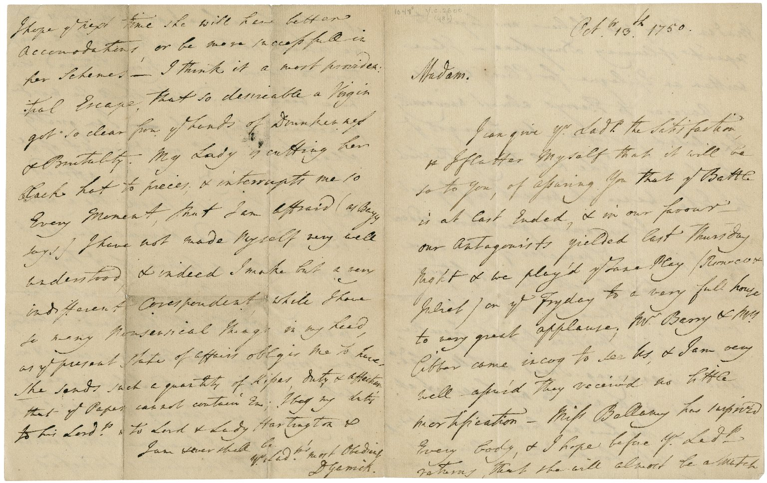 Letters signed from David Garrick to the Countess of Burlington, October 13, 1750