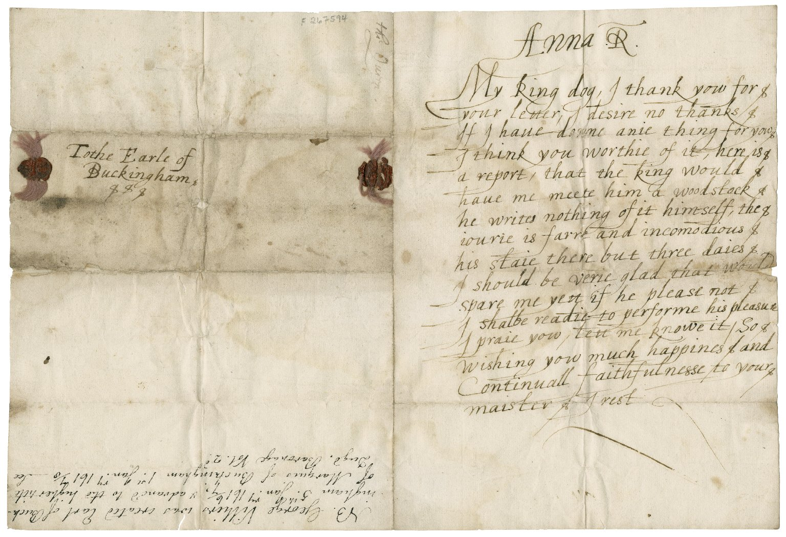 Letter from 1617 by Queen Anne (wife of James I) to George Villiers