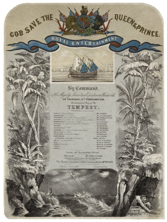 souvenir playbill for an 1854 production of Tempest done for Queen Victoria