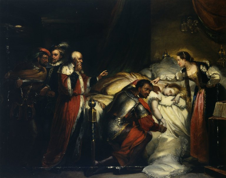 Othello with Desdemona in her deathbed (Act 5, scene 2; 1857)