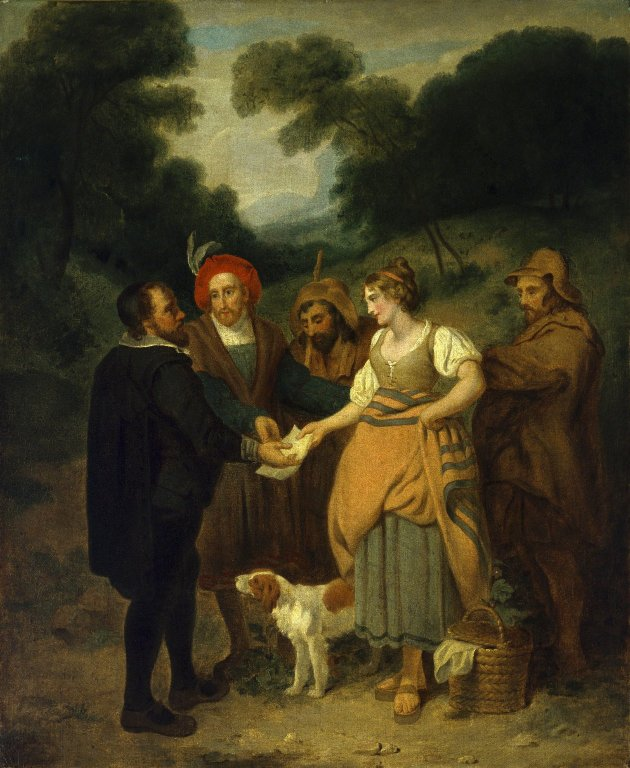 Jaquenetta delivering Berowne's letter (Act 4, scene 2; early 19th century)
