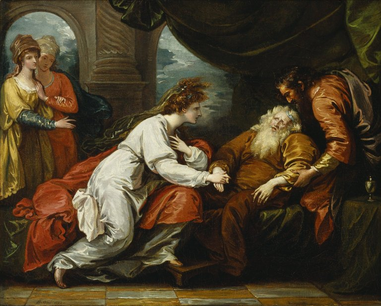 Benjamin West painting of Lear's reunion with Cordelia (Act 4, scene 7; 1793)