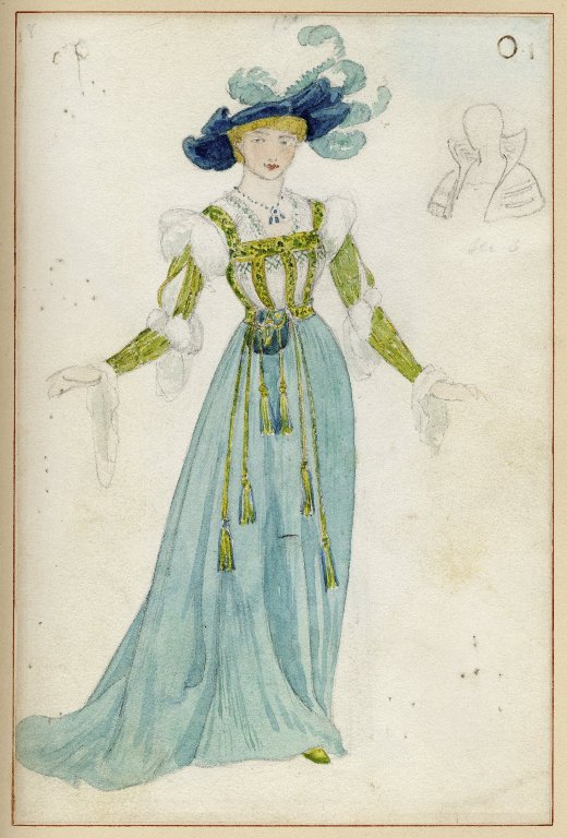 Costume sketch for Ada Rehan as Princess of France (1891)