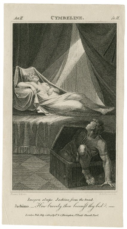 Engraving by R.H. Cromek of Iachimo spying on Imogen (Act 2, scene 2; 1804)