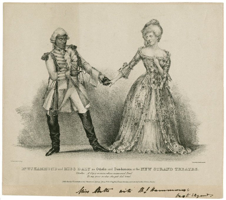 William James Hammond and Ellen Daly as Othello and Desdemona (mid-19th century)