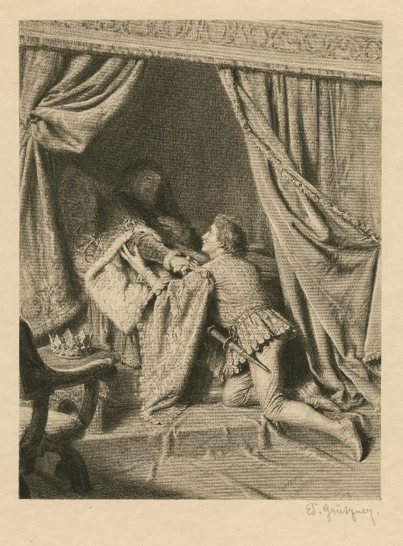 Hal with King Henry in his sickbed (late 19th or early 20th century)