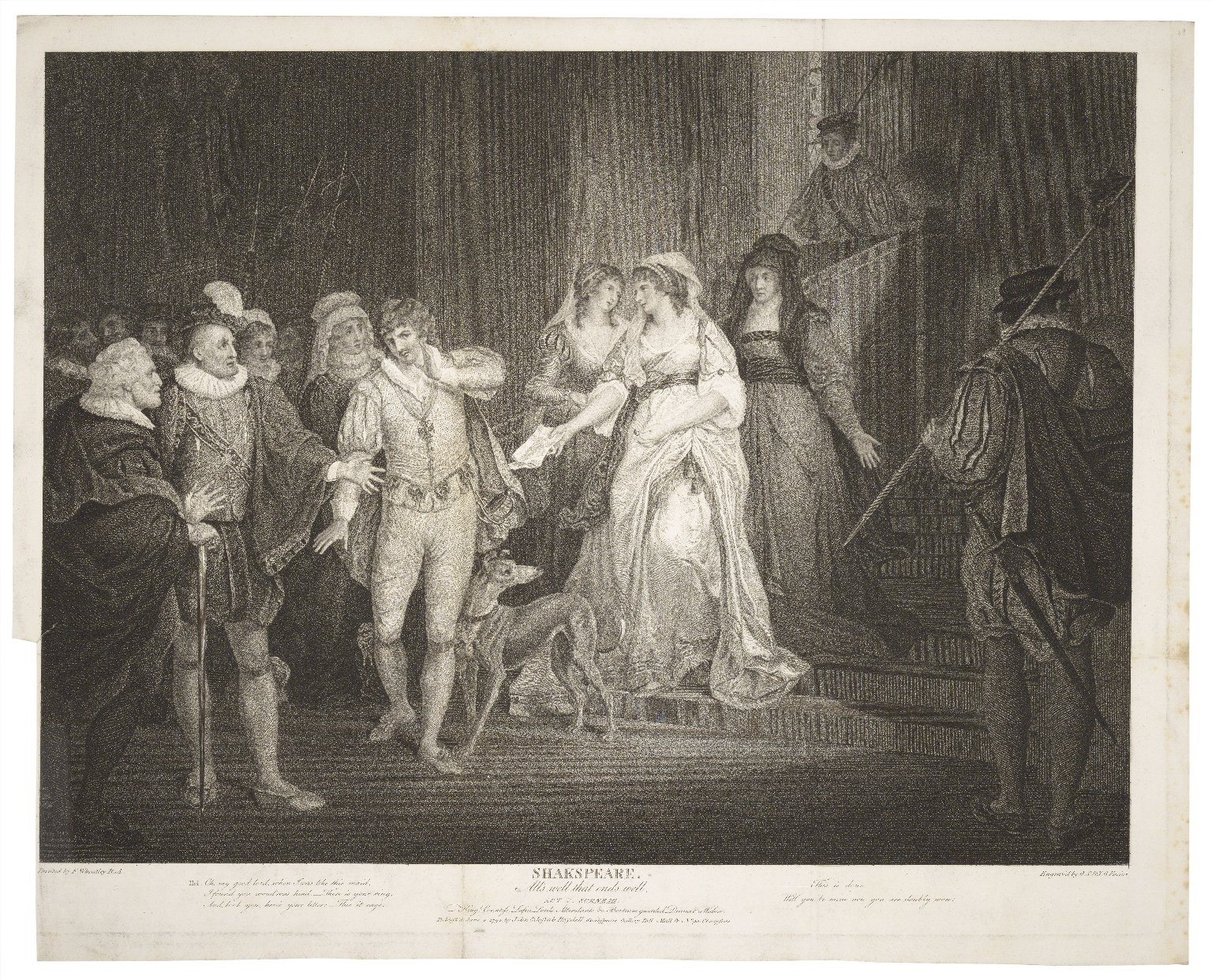 Engraving by Georg Sigmund Facius of the final scene (Act 5, scene 3; 1794)