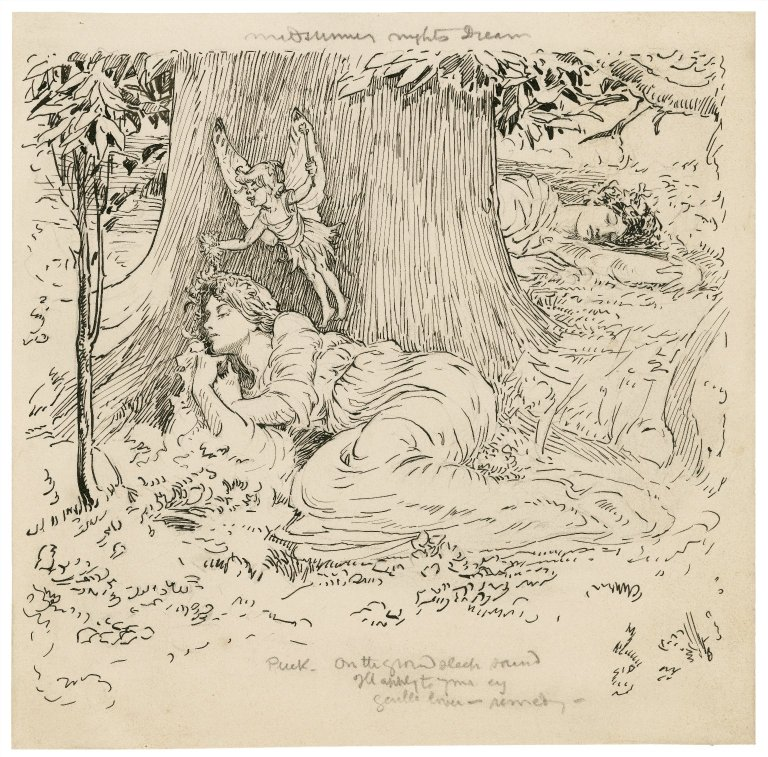 Puck with the sleeping Hermia (Act 3, scene 2; 1918)