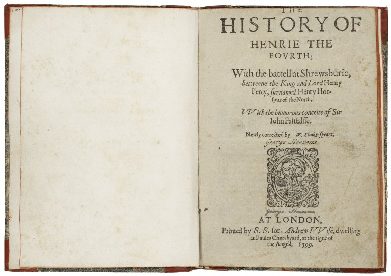 title page of the second quarto of 1 Henry IV