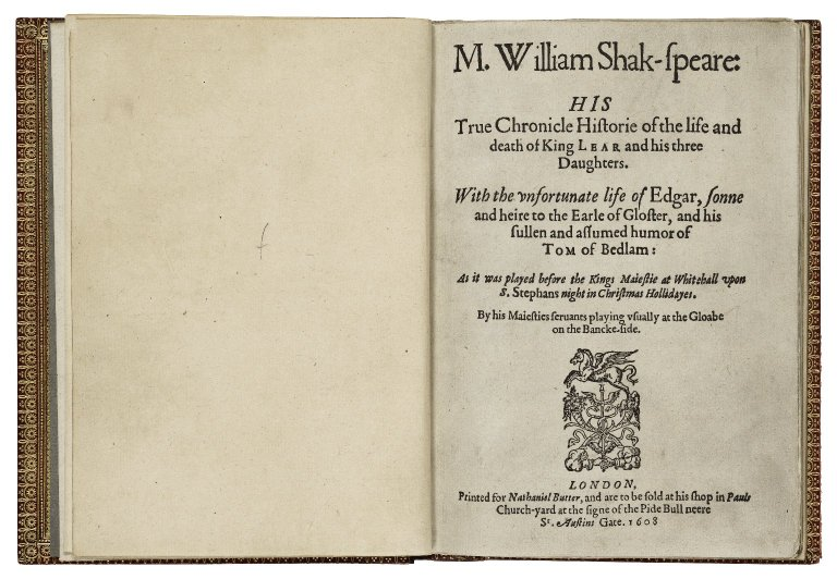 titlepage of Q1 King Lear