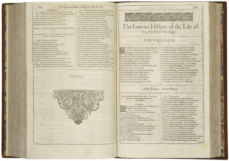 The opening of the First Folio edition of Henry VIII