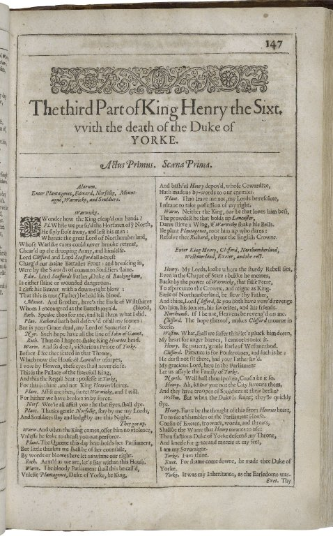 Beginning of 3 Henry VI in the Second Folio