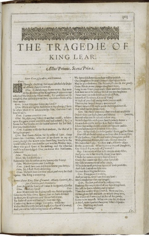 beginning of the Second Folio King Lear